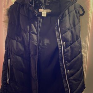 Puffer vest with removable fur hood